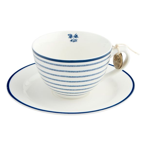 Laura Ashley Porzellantasse mit Untertasse Candy Stripe